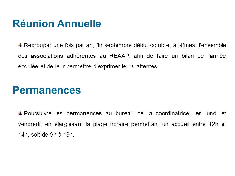 Réunion Annuelle Regrouper une fois par an, fin septembre début octobre, à Nîmes, l ensemble des associations adhérentes au REAAP, afin de faire un bilan de l année écoulée et de leur permettre d exprimer leurs attentes.