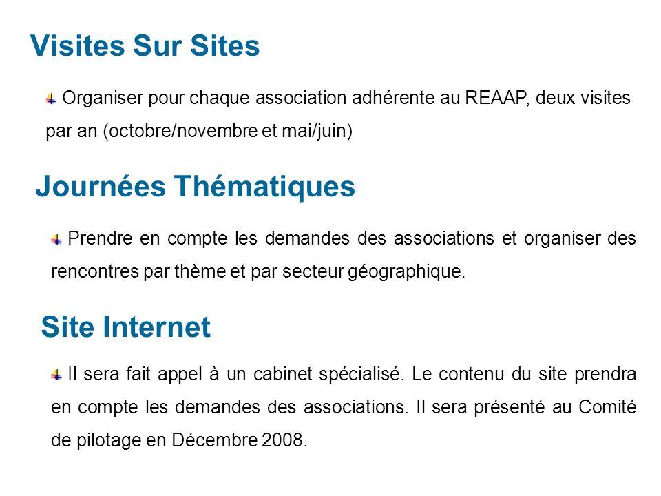 Visites Sur Sites Organiser pour chaque association adhérente au REAAP, deux visites par an (octobre/novembre et mai/juin) Journées Thématiques Prendre en compte les demandes des associations et organiser des rencontres par thème et par secteur géographique.