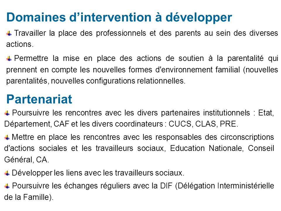 Domaines dintervention à développer Travailler la place des professionnels et des parents au sein des diverses actions.