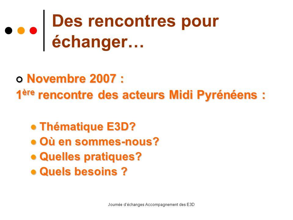 Journée d échanges Accompagnement des E3D Des rencontres pour échanger… Novembre 2007 : Novembre 2007 : 1 ère rencontre des acteurs Midi Pyrénéens : Thématique E3D.