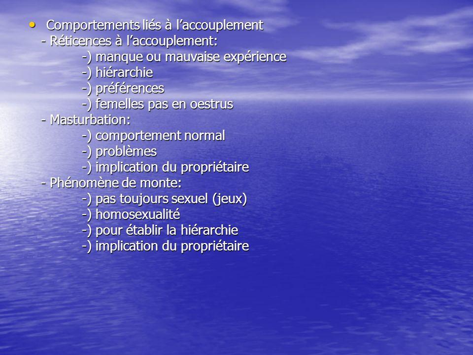 Comportements liés à laccouplement Comportements liés à laccouplement - Réticences à laccouplement: - Réticences à laccouplement: -) manque ou mauvais