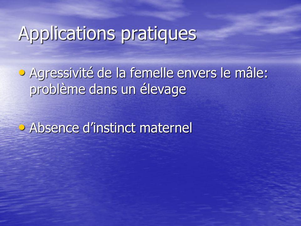 Essayer grâce à la sélection de ne plus avoir de femelles qui présentent de lagressivité envers le mâle reproducteur au sein de cet élevage P = agressivité de la femelle envers le mâle lors de leur rencontre pour laccouplement P = agressivité de la femelle envers le mâle lors de leur rencontre pour laccouplement M = moyenne de la population M = moyenne de la population G = génotype G = génotype U = somme des effets du milieu qui ont agit sur cet individu U = somme des effets du milieu qui ont agit sur cet individu P = M + G + U P = M + G + U Où r (G,U) = 0