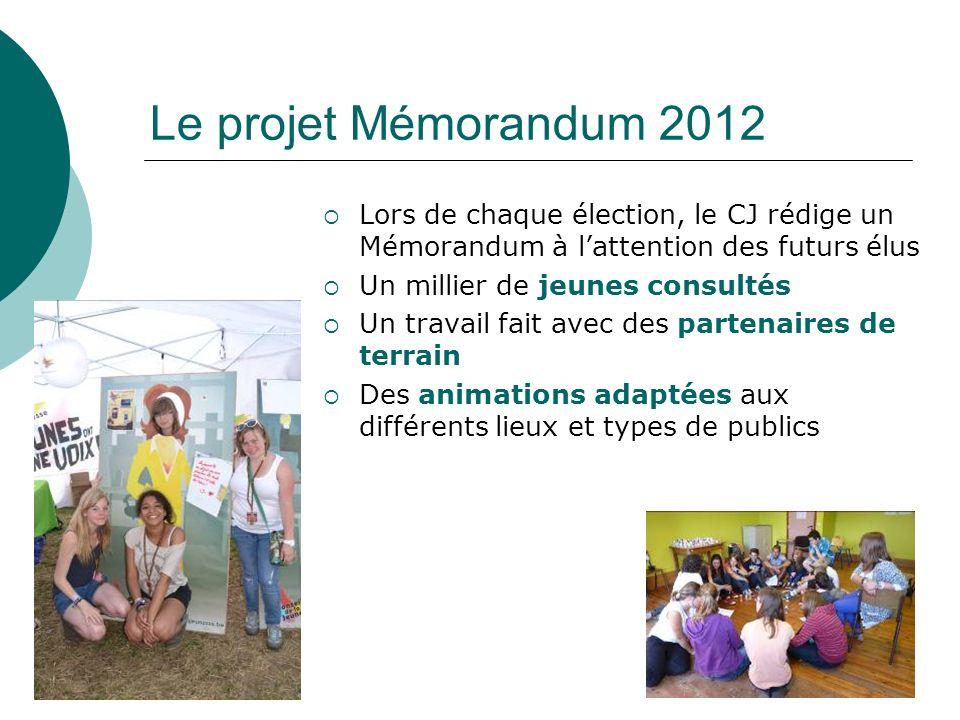 Le projet Mémorandum 2012 Lors de chaque élection, le CJ rédige un Mémorandum à lattention des futurs élus Un millier de jeunes consultés Un travail fait avec des partenaires de terrain Des animations adaptées aux différents lieux et types de publics