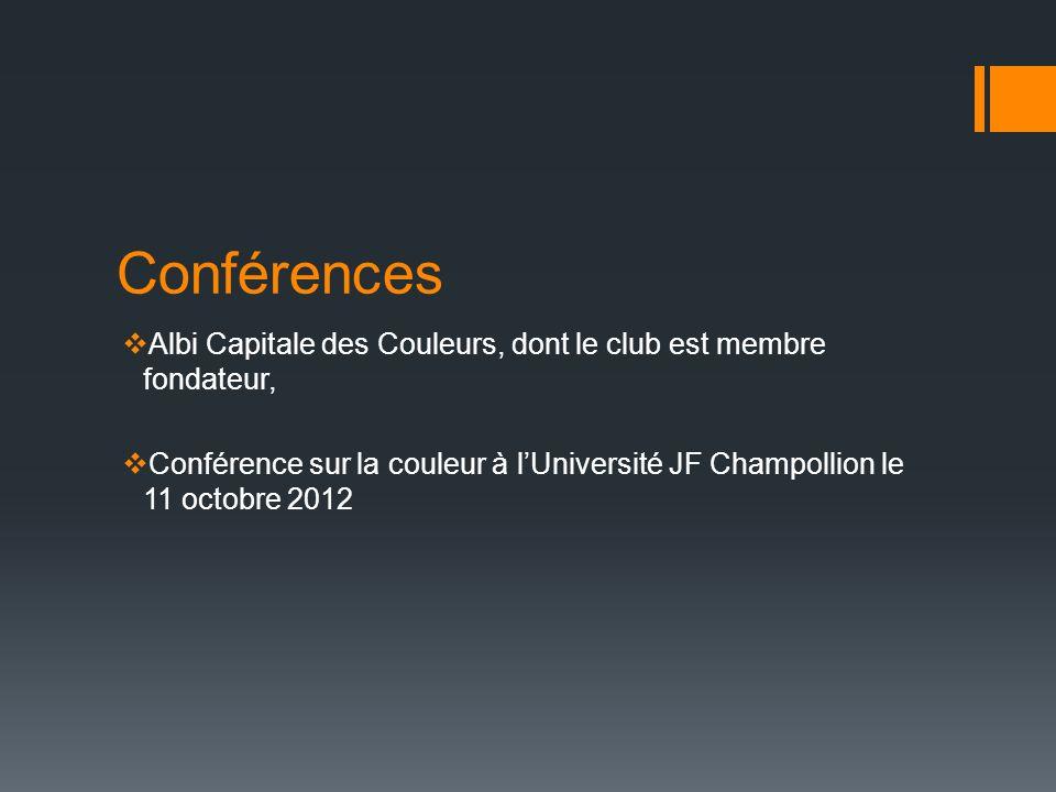 Conférences Albi Capitale des Couleurs, dont le club est membre fondateur, Conférence sur la couleur à lUniversité JF Champollion le 11 octobre 2012