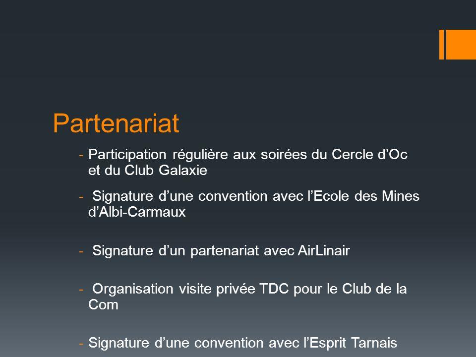 Partenariat -Participation régulière aux soirées du Cercle dOc et du Club Galaxie - Signature dune convention avec lEcole des Mines dAlbi-Carmaux - Si