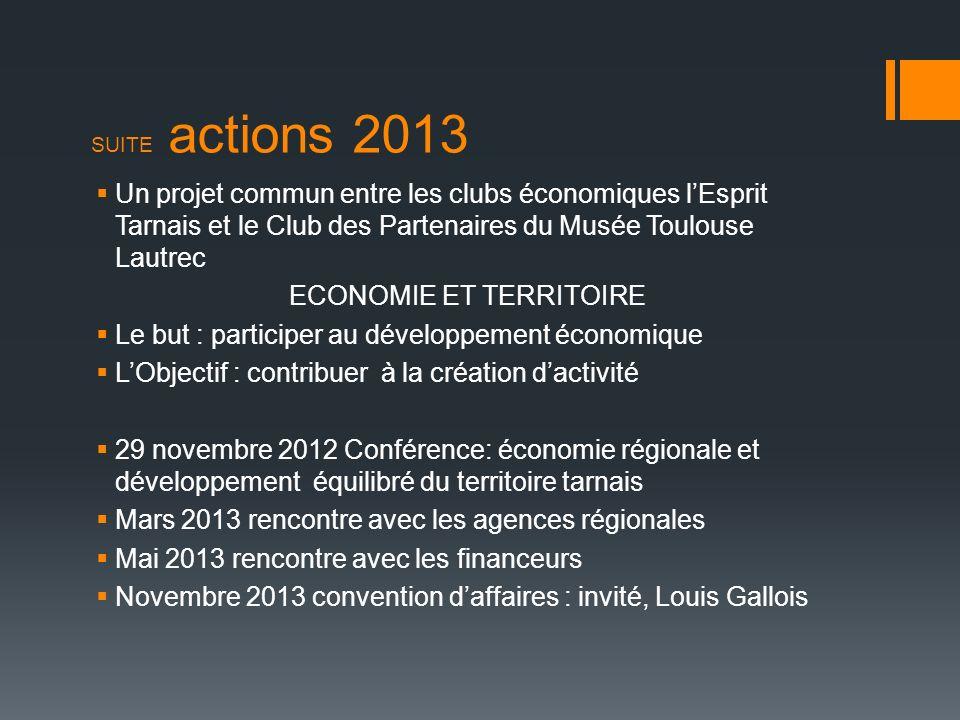 SUITE actions 2013 Un projet commun entre les clubs économiques lEsprit Tarnais et le Club des Partenaires du Musée Toulouse Lautrec ECONOMIE ET TERRI