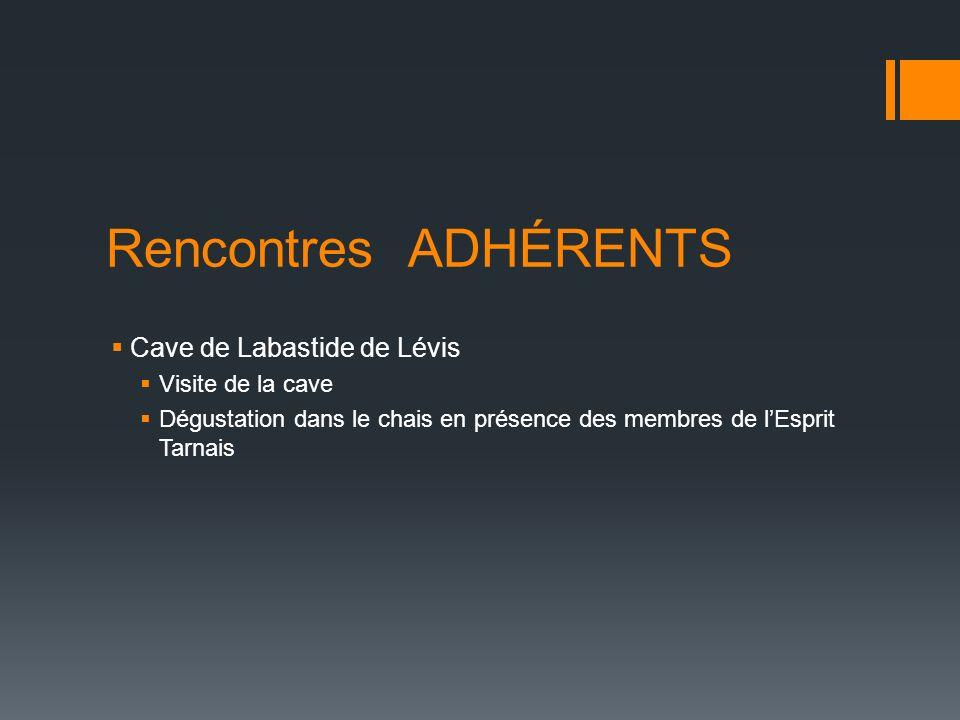 Rencontres ADHÉRENTS Cave de Labastide de Lévis Visite de la cave Dégustation dans le chais en présence des membres de lEsprit Tarnais