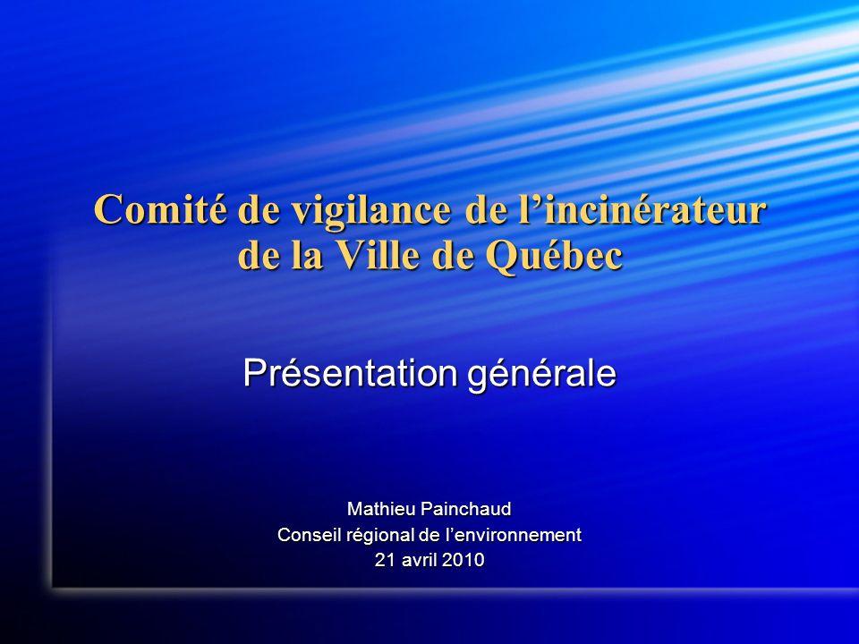 Comité de vigilance de lincinérateur de la Ville de Québec Présentation générale Mathieu Painchaud Conseil régional de lenvironnement 21 avril 2010