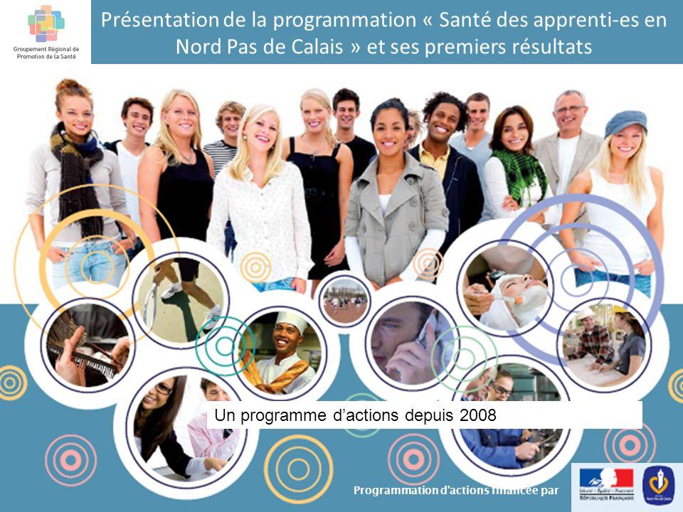 Programmation « Santé des Apprenti-es » un programme dactions: action 6 Action 6:Mise en place de journées déchanges et dinformation auprès des professionnels référents des dynamiques de santé au sein des CFA volontaires (2009 et 2010) Constitution dun groupe de référents pour le Nord et un pour le Pas de Calais: réflexion sur les concepts de santé, sur le rôle du référent, partage autour des projets menés en CFA… 12 Programmation « Santé des Apprenti-es en Nord Pas de Calais »