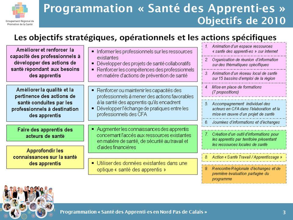 Programmation « Santé des Apprenti-es » un programme dactions: action 7 Action 7: Création doutils dinformations 14 Programmation « Santé des Apprenti-es en Nord Pas de Calais » En 2009: un répertoire de ressources « santé » à destination des profession- nels des CFA Et en 2010, création dun dépliant à destination des apprentis…