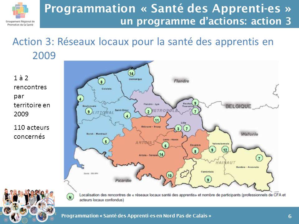 Programmation « Santé des Apprenti-es » un programme dactions: action 9 Et une action transversale: lorganisation dune première rencontre régionale pour la santé des apprentis 17 Programmation « Santé des Apprenti-es en Nord Pas de Calais »