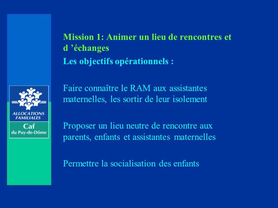 Mission 1: Animer un lieu de rencontres et d échanges Les objectifs opérationnels : Faire connaître le RAM aux assistantes maternelles, les sortir de leur isolement Proposer un lieu neutre de rencontre aux parents, enfants et assistantes maternelles Permettre la socialisation des enfants