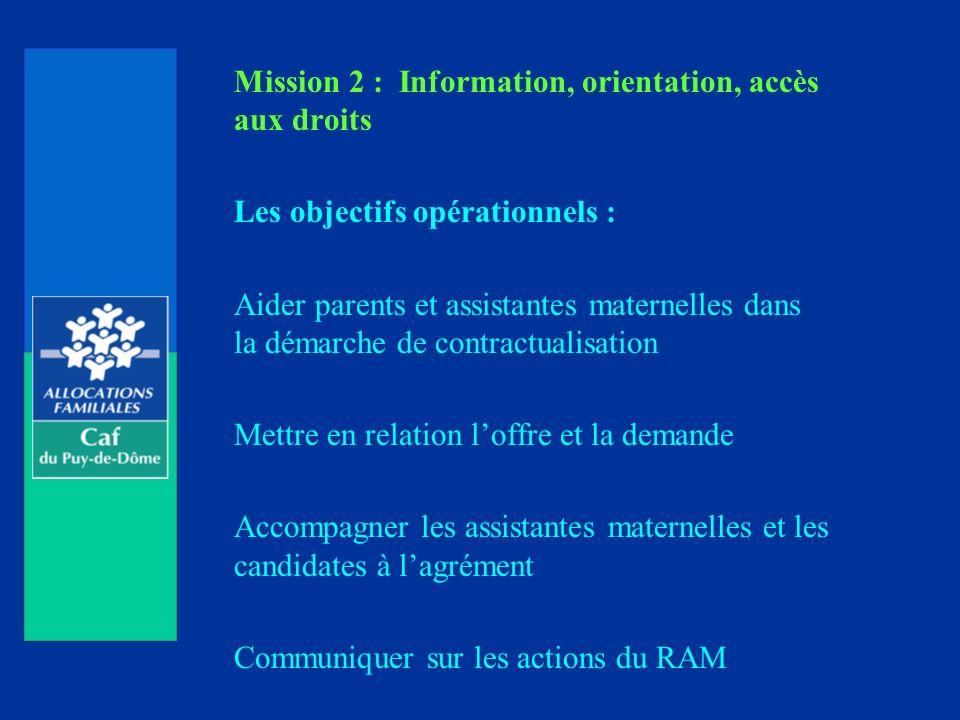 Mission 2 : Information, orientation, accès aux droits Les objectifs opérationnels : Aider parents et assistantes maternelles dans la démarche de contractualisation Mettre en relation loffre et la demande Accompagner les assistantes maternelles et les candidates à lagrément Communiquer sur les actions du RAM