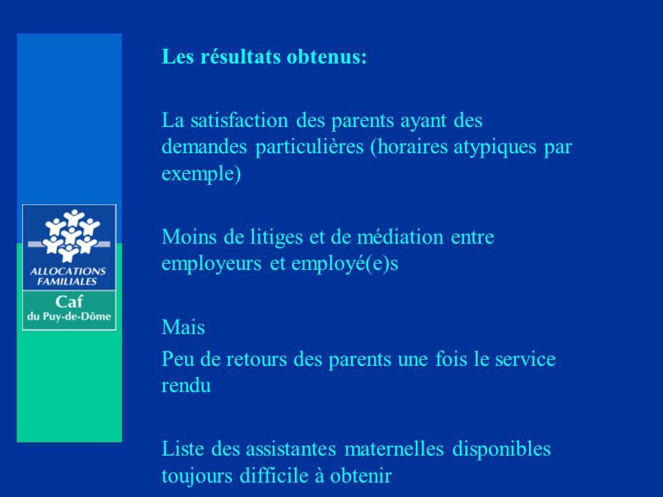 Les résultats obtenus: La satisfaction des parents ayant des demandes particulières (horaires atypiques par exemple) Moins de litiges et de médiation