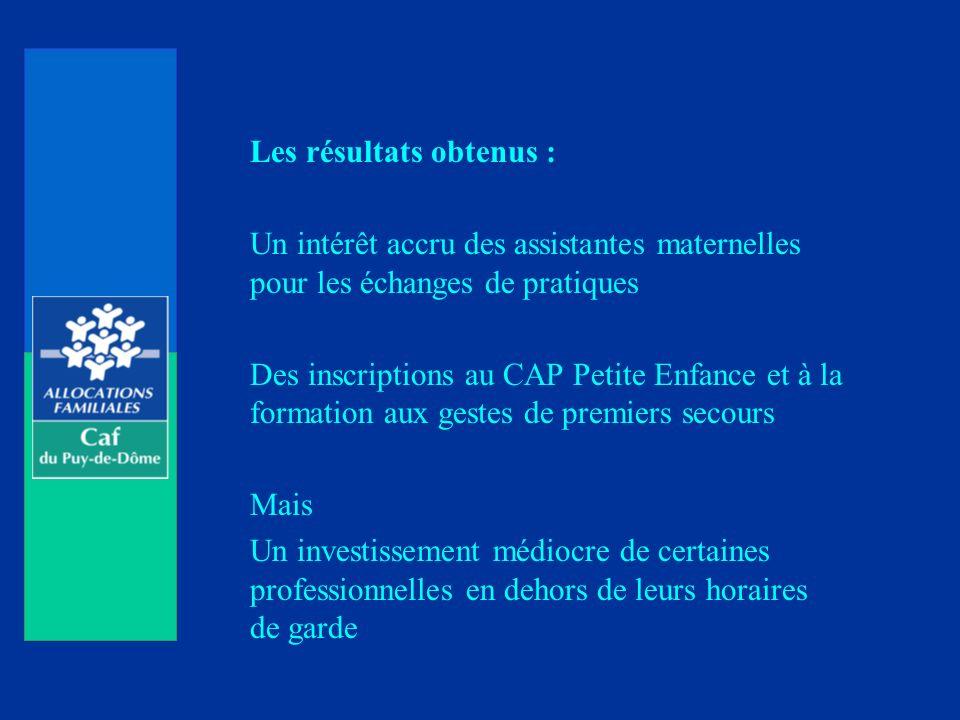 Les résultats obtenus : Un intérêt accru des assistantes maternelles pour les échanges de pratiques Des inscriptions au CAP Petite Enfance et à la for