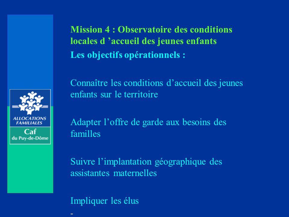 Mission 4 : Observatoire des conditions locales d accueil des jeunes enfants Les objectifs opérationnels : Connaître les conditions daccueil des jeune