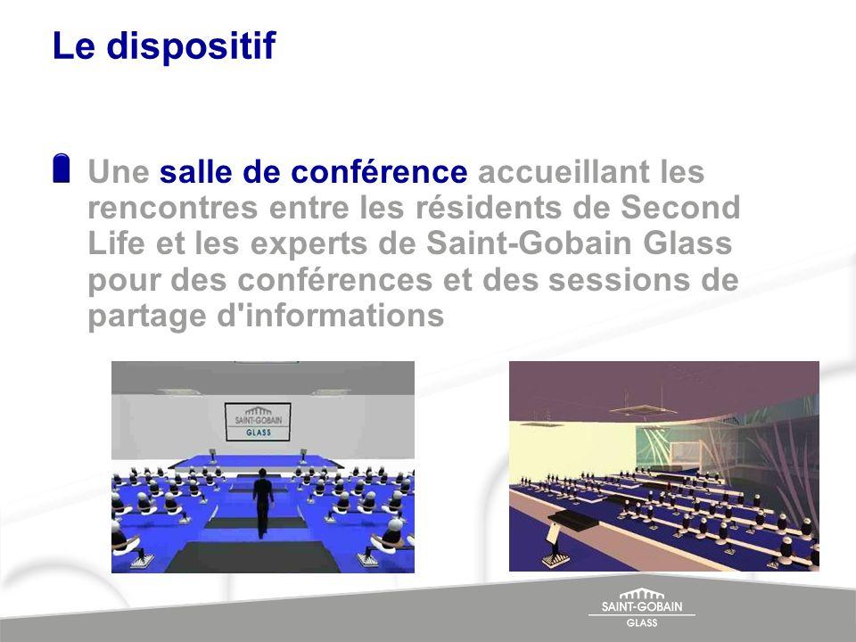 Le dispositif Une salle de conférence accueillant les rencontres entre les résidents de Second Life et les experts de Saint-Gobain Glass pour des conf