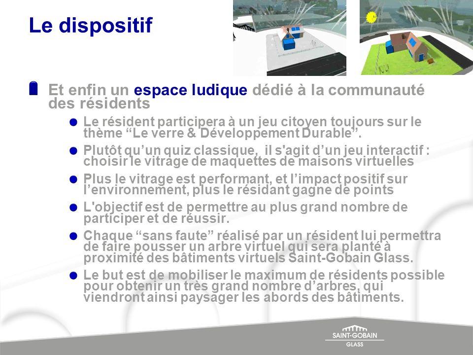 Le dispositif Et enfin un espace ludique dédié à la communauté des résidents Le résident participera à un jeu citoyen toujours sur le thème Le verre &