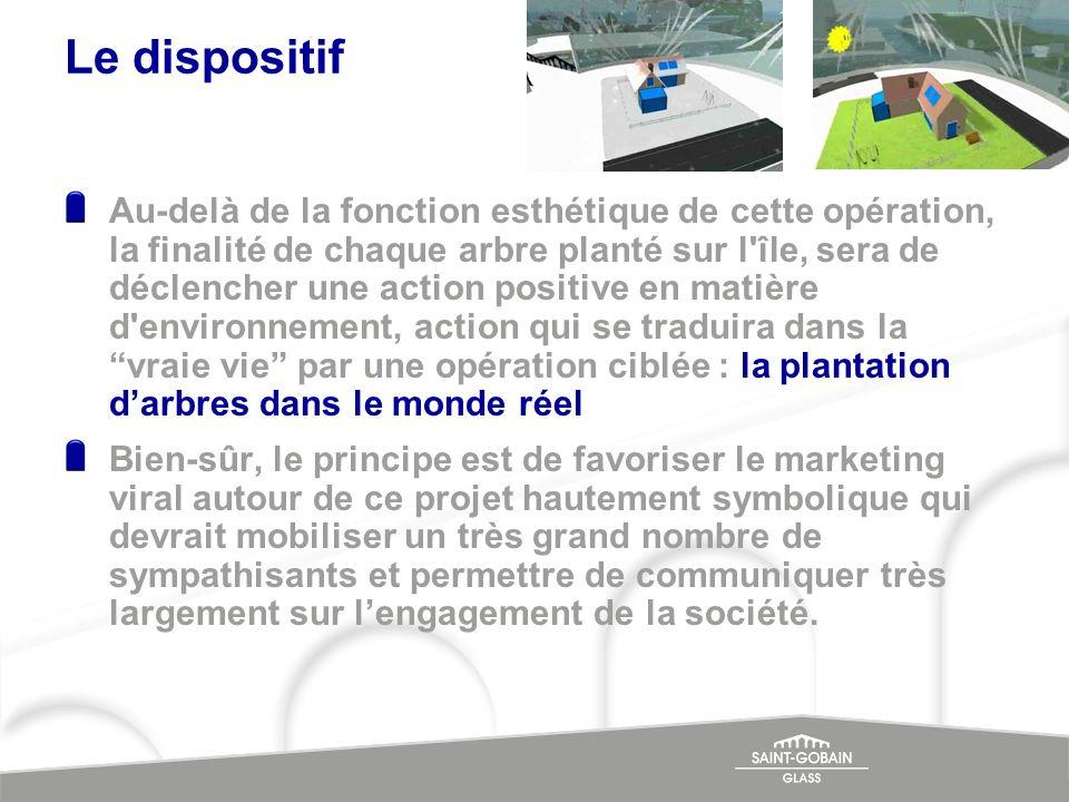Le dispositif Au-delà de la fonction esthétique de cette opération, la finalité de chaque arbre planté sur l'île, sera de déclencher une action positi