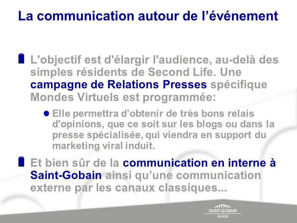 La communication autour de lévénement L'objectif est d'élargir l'audience, au-delà des simples résidents de Second Life. Une campagne de Relations Pre