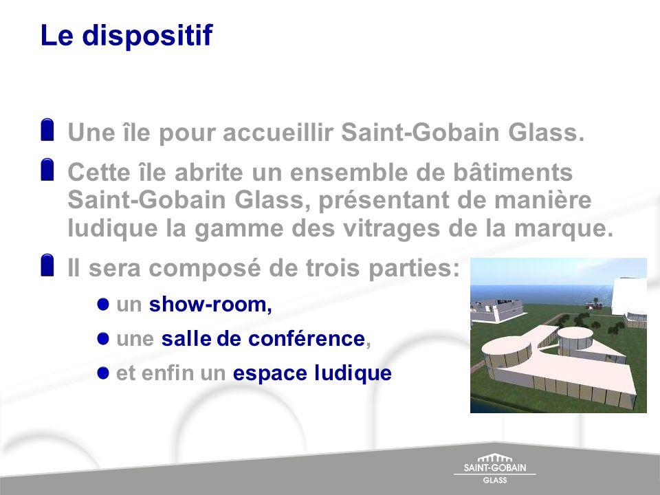 Le dispositif Une île pour accueillir Saint-Gobain Glass. Cette île abrite un ensemble de bâtiments Saint-Gobain Glass, présentant de manière ludique