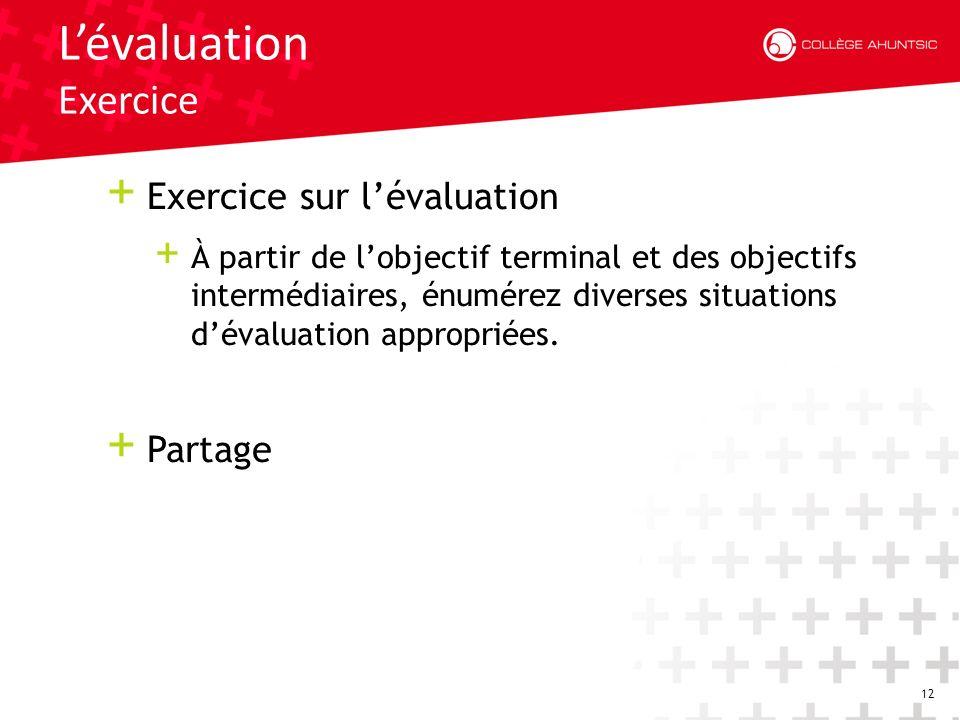 12 Lévaluation Exercice + Exercice sur lévaluation + À partir de lobjectif terminal et des objectifs intermédiaires, énumérez diverses situations dévaluation appropriées.