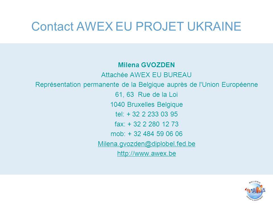 Contact AWEX EU PROJET UKRAINE Milena GVOZDEN Attachée AWEX EU BUREAU Représentation permanente de la Belgique auprès de l'Union Européenne 61, 63 Rue