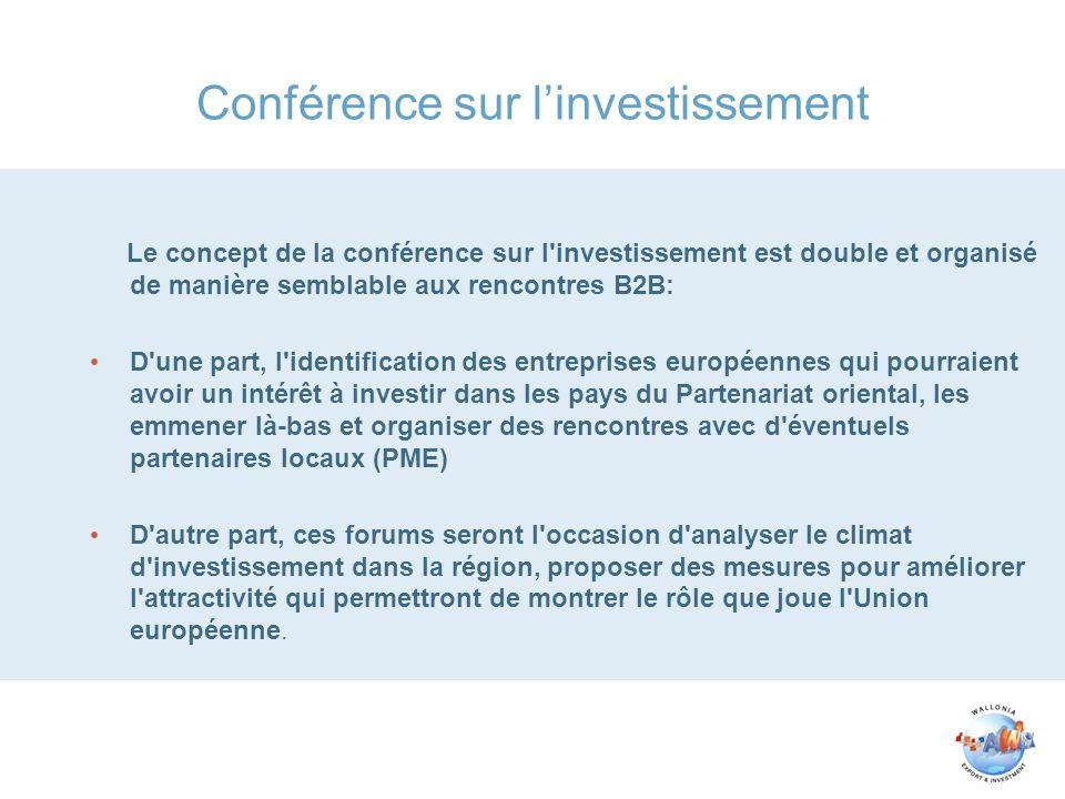 Conférence sur linvestissement Le concept de la conférence sur l'investissement est double et organisé de manière semblable aux rencontres B2B: D'une