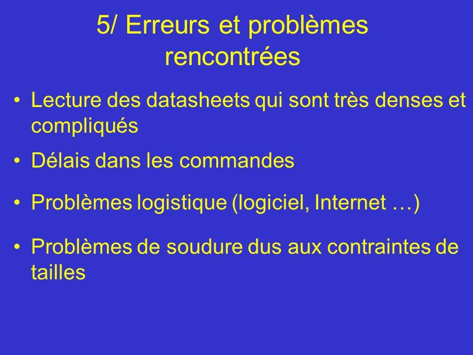 5/ Erreurs et problèmes rencontrées Lecture des datasheets qui sont très denses et compliqués Délais dans les commandes Problèmes logistique (logiciel