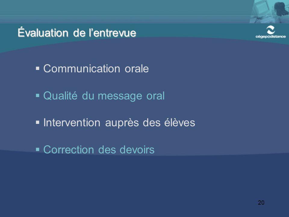 20 Communication orale Qualité du message oral Intervention auprès des élèves Correction des devoirs Évaluation de lentrevue