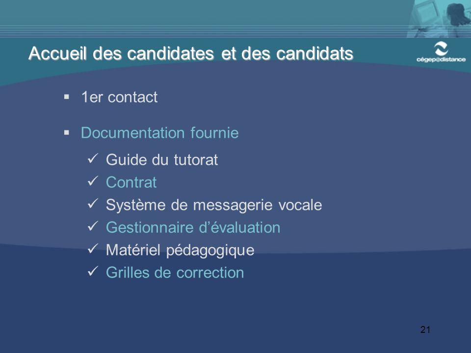 21 1er contact Documentation fournie Guide du tutorat Contrat Système de messagerie vocale Gestionnaire dévaluation Matériel pédagogique Grilles de co