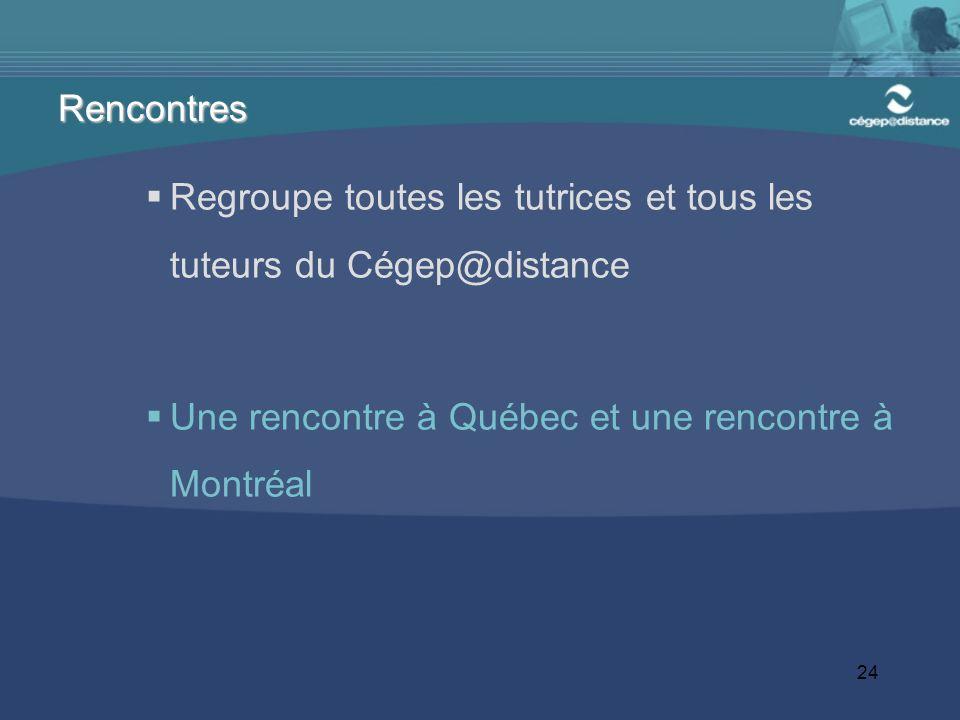 24 Regroupe toutes les tutrices et tous les tuteurs du Cégep@distance Une rencontre à Québec et une rencontre à Montréal Rencontres