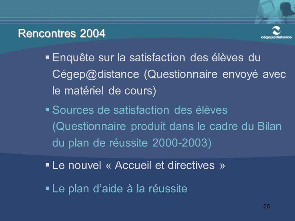 26 Enquête sur la satisfaction des élèves du Cégep@distance (Questionnaire envoyé avec le matériel de cours) Sources de satisfaction des élèves (Quest