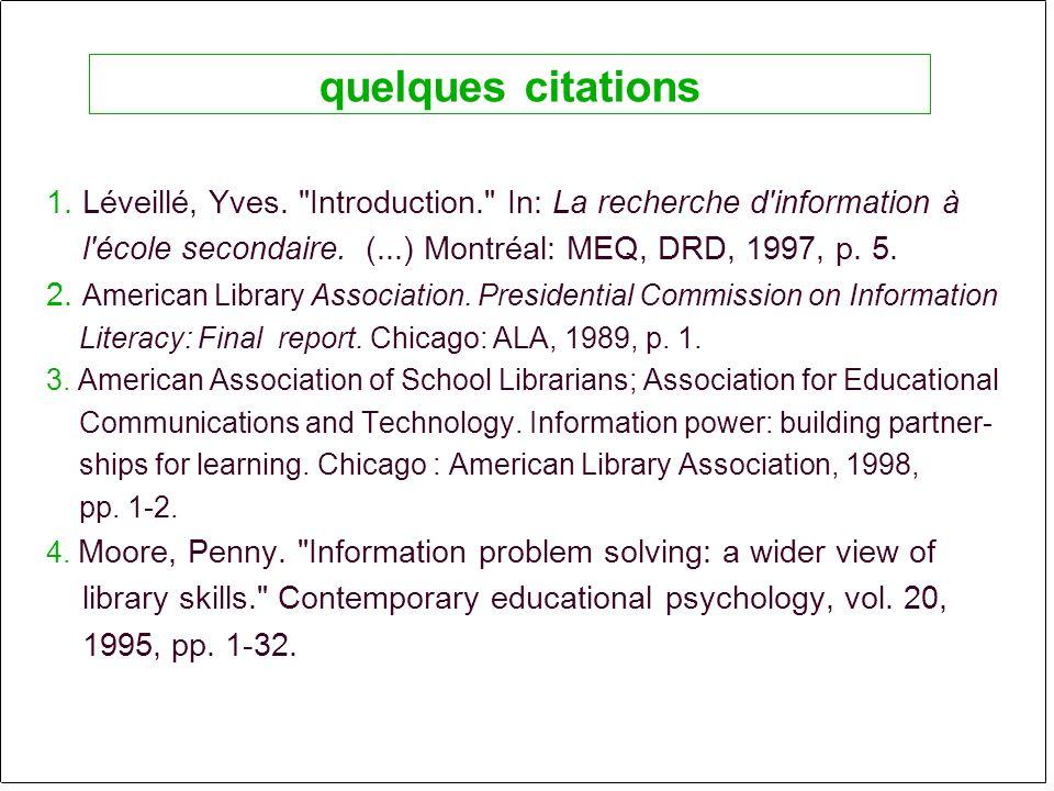 1. Léveillé, Yves. Introduction. In: La recherche d information à l école secondaire.