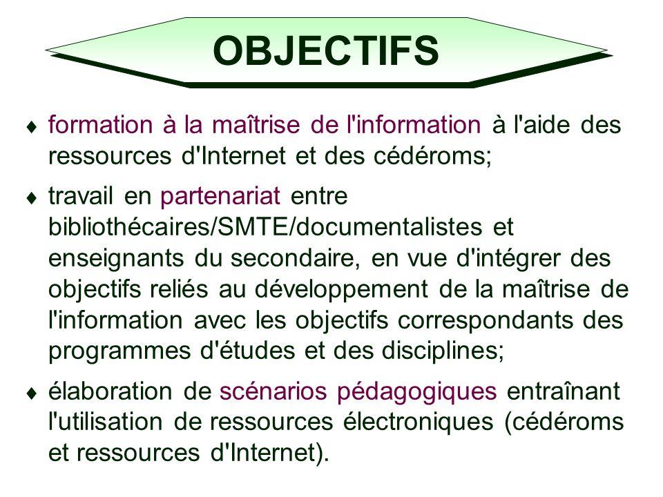 OBJECTIFS COMPLÉMENTAIRES (France) distinguer les compétences liées à lenseignement de la discipline, et celles qui sont propres à la recherche dinformation (en se référant aux référentiels existants); formaliser sa pratique (pour les enseignants); donner la parole à lapprenant pour quil sexprime sur lactivité pédagogique.