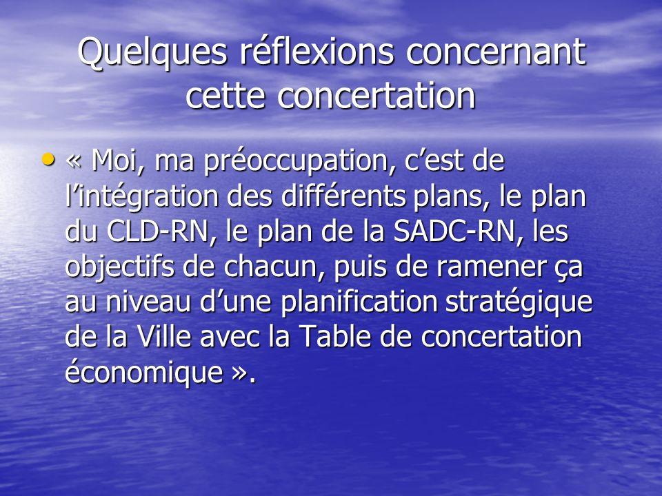 Quelques réflexions concernant cette concertation « Moi, ma préoccupation, cest de lintégration des différents plans, le plan du CLD-RN, le plan de la