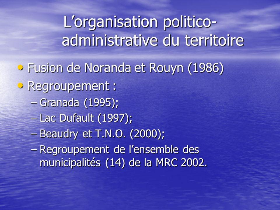 Lorganisation politico- administrative du territoire Fusion de Noranda et Rouyn (1986) Fusion de Noranda et Rouyn (1986) Regroupement : Regroupement :