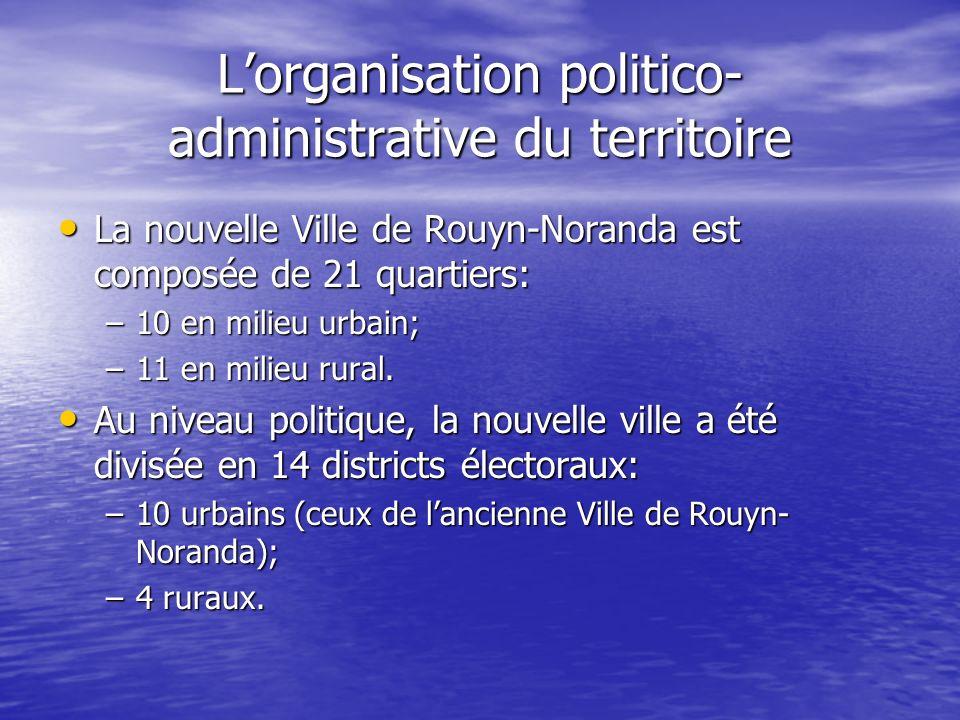 Lorganisation politico- administrative du territoire La nouvelle Ville de Rouyn-Noranda est composée de 21 quartiers: La nouvelle Ville de Rouyn-Noran