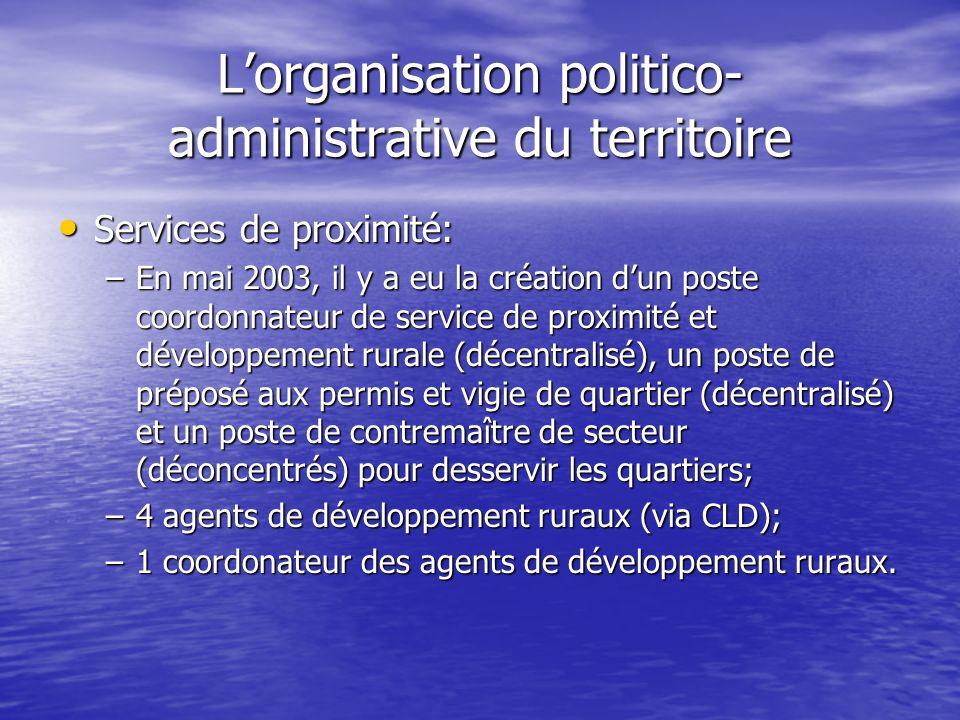 Lorganisation politico- administrative du territoire Services de proximité: Services de proximité: –En mai 2003, il y a eu la création dun poste coord