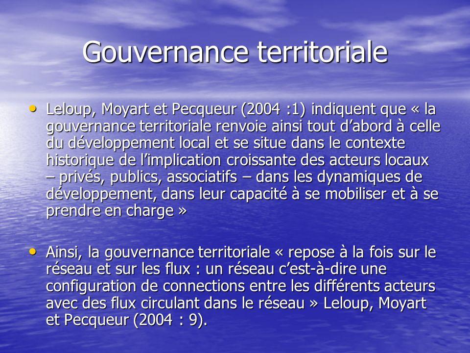 Gouvernance territoriale Leloup, Moyart et Pecqueur (2004 :1) indiquent que « la gouvernance territoriale renvoie ainsi tout dabord à celle du dévelop