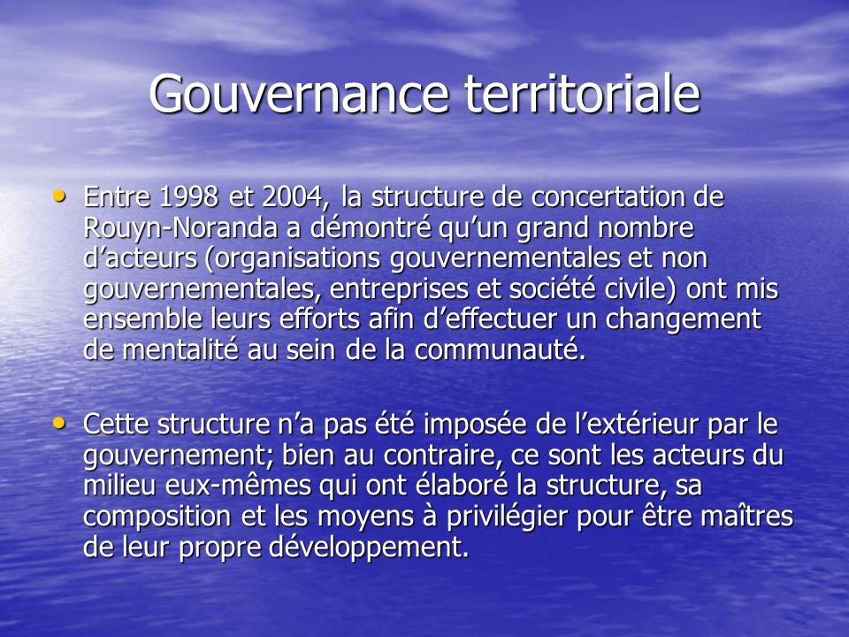 Gouvernance territoriale Entre 1998 et 2004, la structure de concertation de Rouyn-Noranda a démontré quun grand nombre dacteurs (organisations gouver