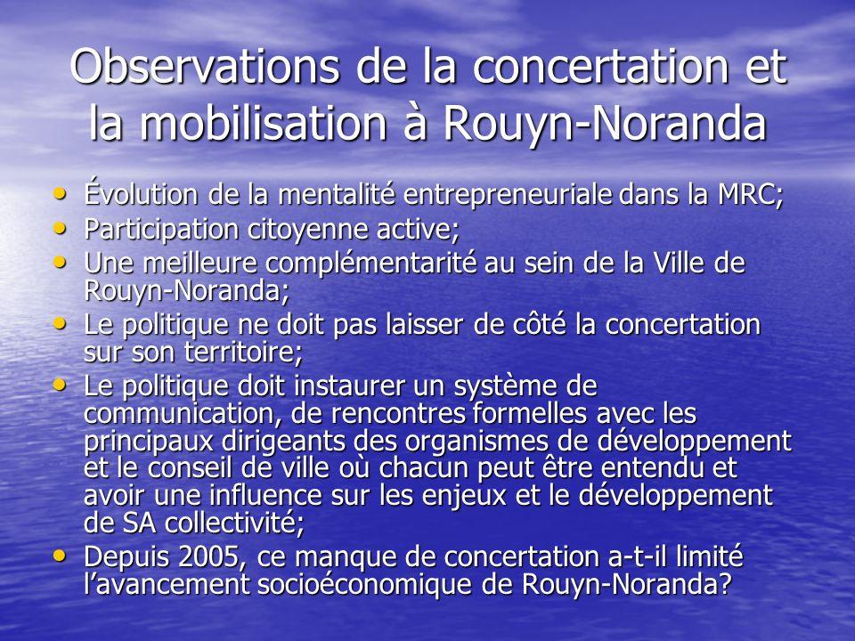 Observations de la concertation et la mobilisation à Rouyn-Noranda Évolution de la mentalité entrepreneuriale dans la MRC; Évolution de la mentalité e