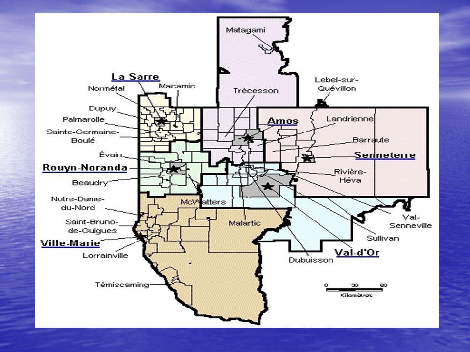 La région administrative de lAbitibi-Témiscamingue regroupe 5 municipalités régionales de comté (± 150 000 habitants).