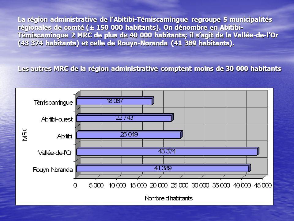 La région administrative de lAbitibi-Témiscamingue regroupe 5 municipalités régionales de comté (± 150 000 habitants). On dénombre en Abitibi- Témisca