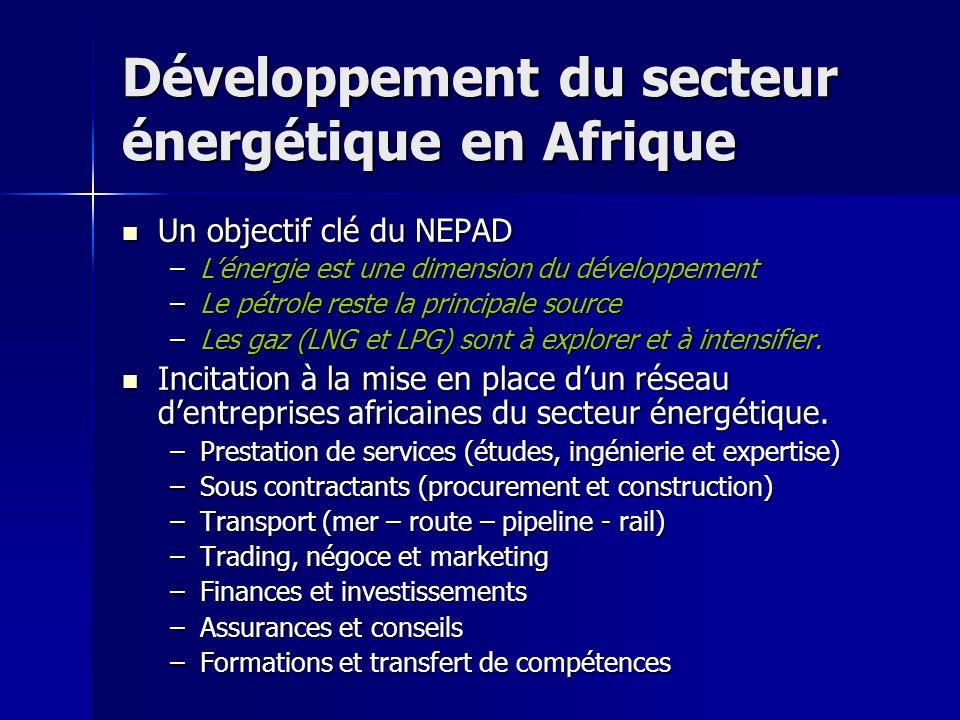 Développement du secteur énergétique en Afrique Un objectif clé du NEPAD Un objectif clé du NEPAD –Lénergie est une dimension du développement –Le pét