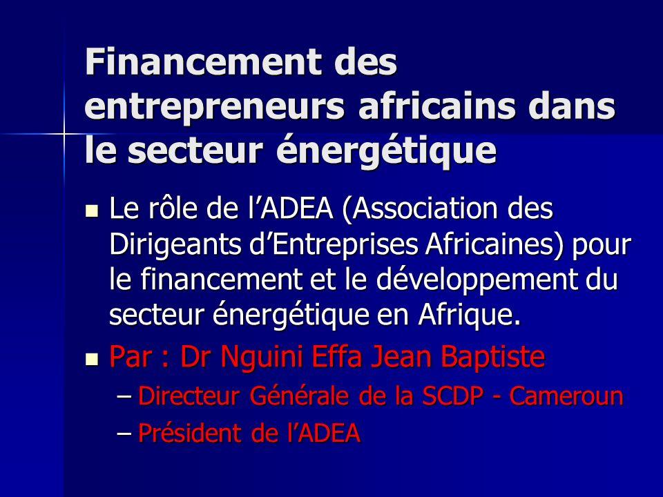 Financement des entrepreneurs africains dans le secteur énergétique Le rôle de lADEA (Association des Dirigeants dEntreprises Africaines) pour le fina
