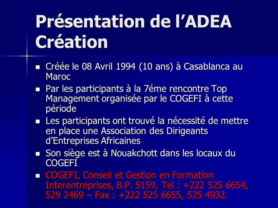 Présentation de lADEA Création Créée le 08 Avril 1994 (10 ans) à Casablanca au Maroc Créée le 08 Avril 1994 (10 ans) à Casablanca au Maroc Par les par