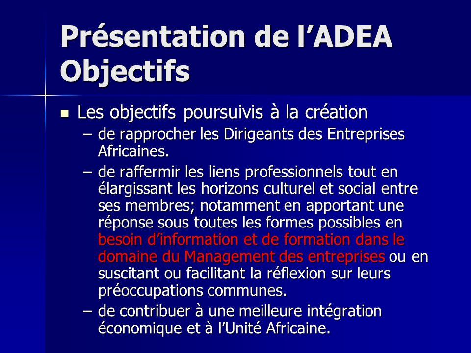 Présentation de lADEA Objectifs Les objectifs poursuivis à la création Les objectifs poursuivis à la création –de rapprocher les Dirigeants des Entrep