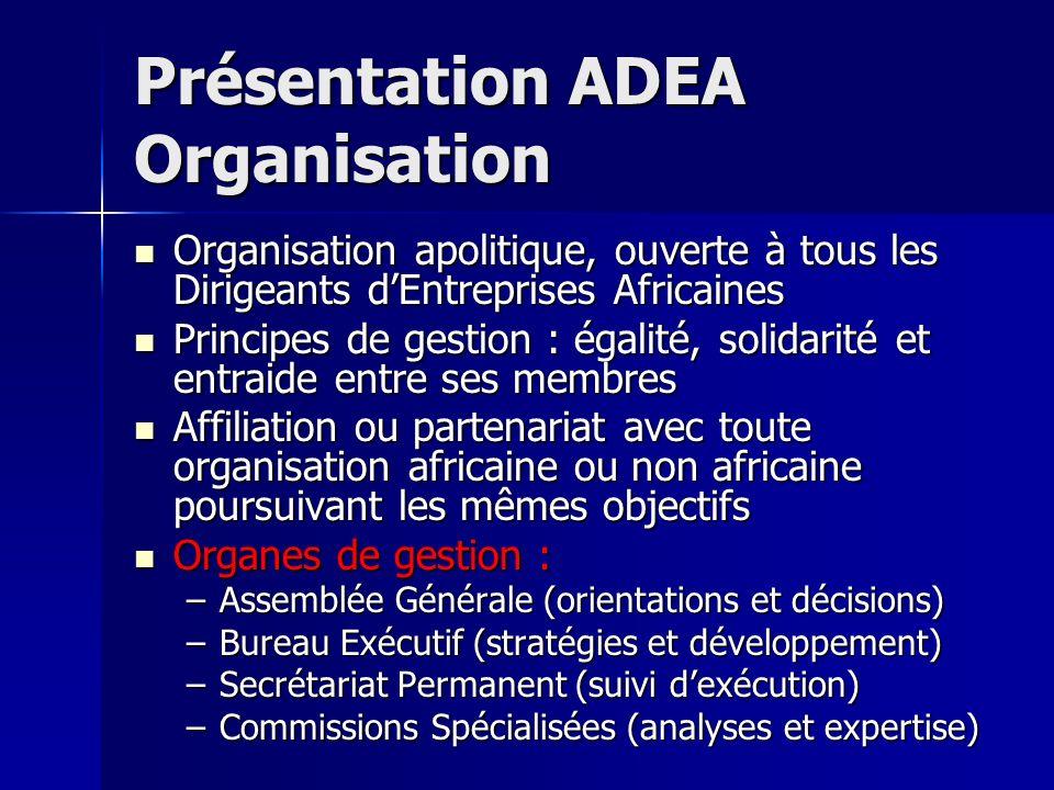Présentation ADEA Organisation Organisation apolitique, ouverte à tous les Dirigeants dEntreprises Africaines Organisation apolitique, ouverte à tous