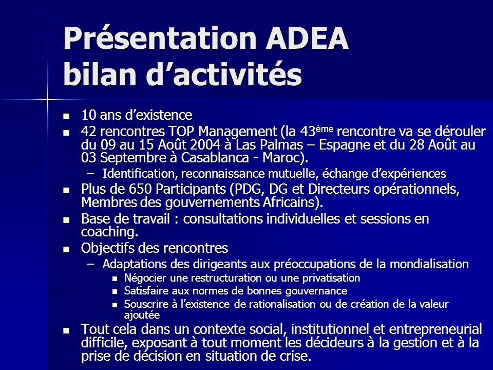 Présentation ADEA bilan dactivités 10 ans dexistence 10 ans dexistence 42 rencontres TOP Management (la 43 ème rencontre va se dérouler du 09 au 15 Ao